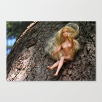 barbie Canvas Prints featuring barbie by art_by_a_rose