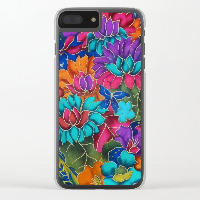 Colorful floral fantasy Clear iPhone Case