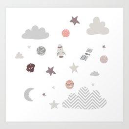 space galaxy clouds Art Print