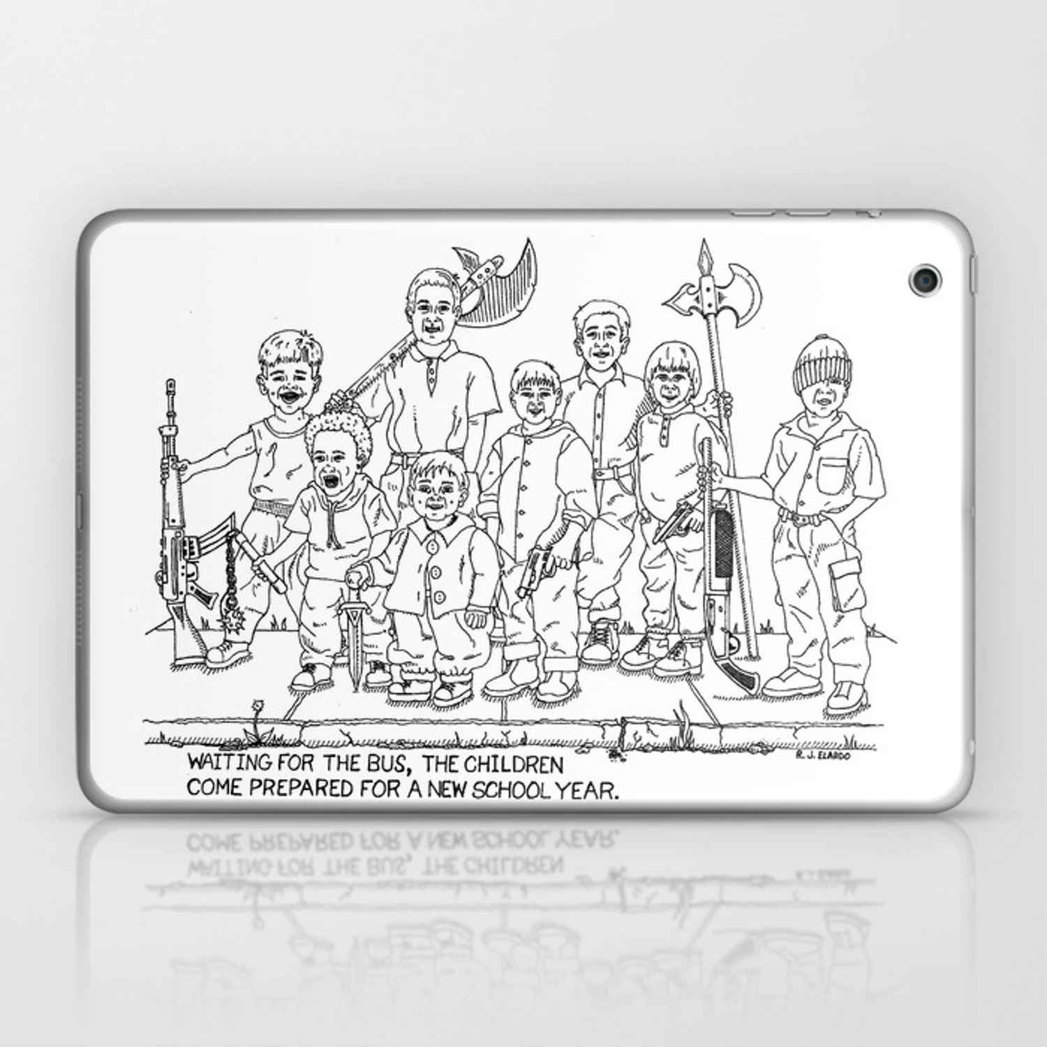 Bus School Year Satire Drawing Laptop Ipad Skin By