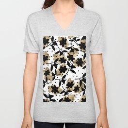 Modern abstract black  gold brushstrokes dots floral Unisex V-Neck