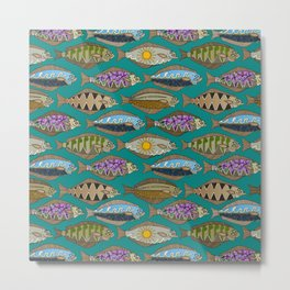 Alaskan halibut teal Metal Print