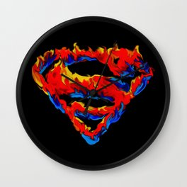 Superman in Flames Wall Clock