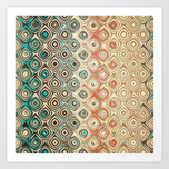 Retro Circles Pattern Art Print