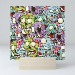 Spooky Zombie Halloween Pattern Mini Art Print