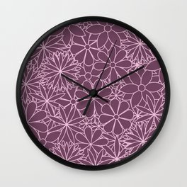 Stylized Flower Bunch Pink & Plum Wall Clock