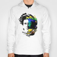 senna Hoodies featuring Ayrton Senna do Brasil - White & Color Series #4 by Universo do Sofa - Artes & Etecetera