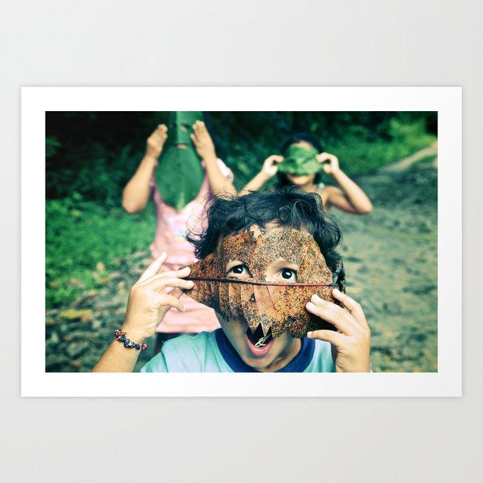Kids with leaf masks Art Print