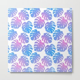 Monstera Deliciosa Pink and Blue Gradient Pattern Metal Print