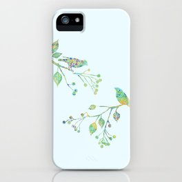 Birds on Branches Love Bird Couple Vintage Floral Pattern Green Yellow Blue iPhone Case