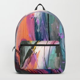 Eye of the Beholder [4]: a colorful, vibrant abstract in purples, blues, orange, pink, and gold Backpack