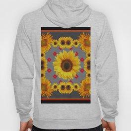 Western Blanket Style Sunflowers Grey Art Hoody