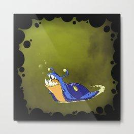 Toothy Slug - Blue Metal Print