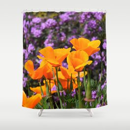 Poppies And Purple Lantana Shower Curtain