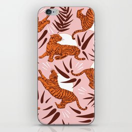 Vibrant Wilderness / Tigers on Pink iPhone Skin