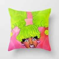 nicki Throw Pillows featuring Pink Face by KeishaC