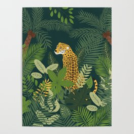Jaguar in a Jungle on Green Poster