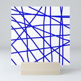 Doodle (Blue & White) Mini Art Print