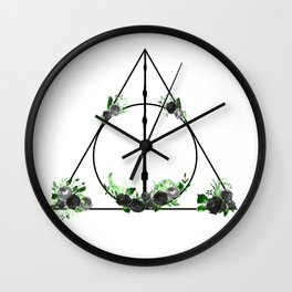 Deathly Hallows in Green and Gray Wall Clock