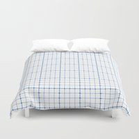 Dotted Grid Weave Blues Duvet Cover