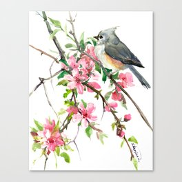 Titmouse and Cherry Blossom, birds and flowers design artwork Canvas Print