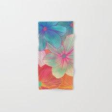Between the Lines - tropical flowers in pink, orange, blue & mint Hand & Bath Towel