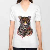 tiger V-neck T-shirts featuring Tiger by Felicia Cirstea