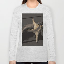 Starfish and boat rope on the pier - dark background - #Society6 - #buyart Long Sleeve T-shirt
