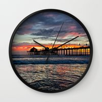 calendars Wall Clocks featuring Huntington Beach Sunset  1/26/14 by John Minar Fine Art Photography