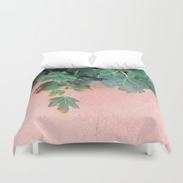 Pink Green Leaves Duvet Cover