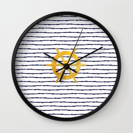 Marine pattern - Navy blue white striped with golden wheel Wall Clock