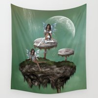 fairies Wall Tapestries featuring Dream Fairies by FantasyArtDesigns