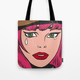 Crying Hipster Comic Girl Tote Bag