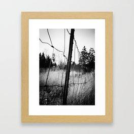 Cloudy Oregon Country Farm Fencing Framed Art Print