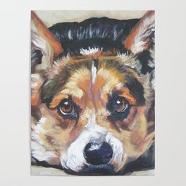 Pembroke Welsh Corgi dog art portrait from an original painting by L.A.Shepard Poster