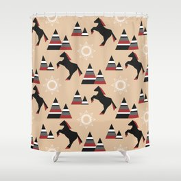 American Indians style pattern with black horse jumping in the mountains Shower Curtain
