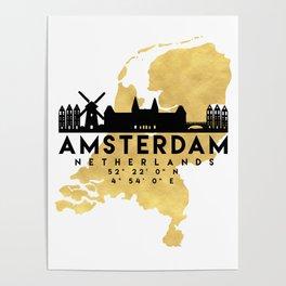 AMSTERDAM NETHERLANDS SILHOUETTE SKYLINE MAP ART Poster