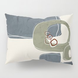 Retro Abstract Design in Sage Green and Peninsula Blue Pillow Sham