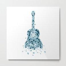 Flowers Guitar - blue I Metal Print