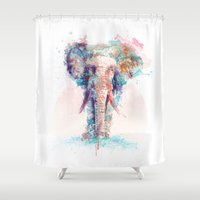 elephant Shower Curtains featuring Elephant by I AM DIMITRI