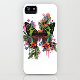 Neo Traditional Sunset Moth and flowers iPhone Case