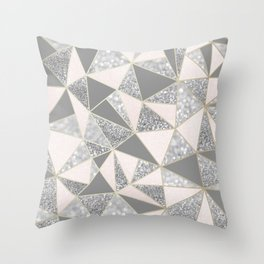 Geometric, Blush Pink, Gold, Gray and Silver, Glitter, Abstract, Pattern Throw Pillow