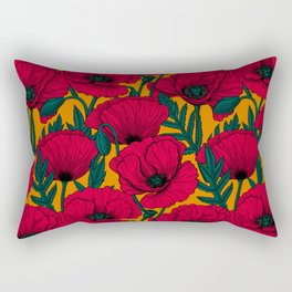 Red poppy garden Rectangular Pillow
