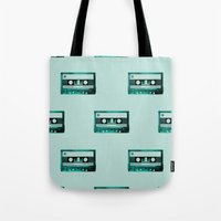 cassette Tote Bags featuring cassette by Ginger Pigg Art & Design
