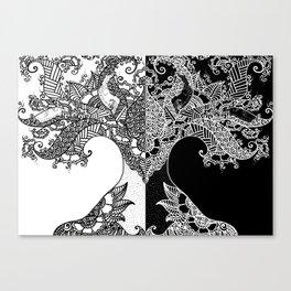 Unity of Halves - Life Tree - Rebirth - White Black Canvas Print