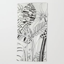 Patterned leaves revisited -line drawing plants Beach Towel