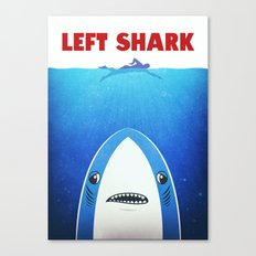 Left Shark Parody - Jaws - Funny Movie / Meme Humor Canvas Print