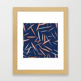 Colored leaves in a dark blue background Framed Art Print