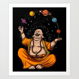 Zen Yoga Buddha Juggling Space Planets Meditation Art Print