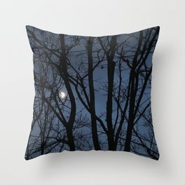 Moon captured - an illustrated poem Throw Pillow